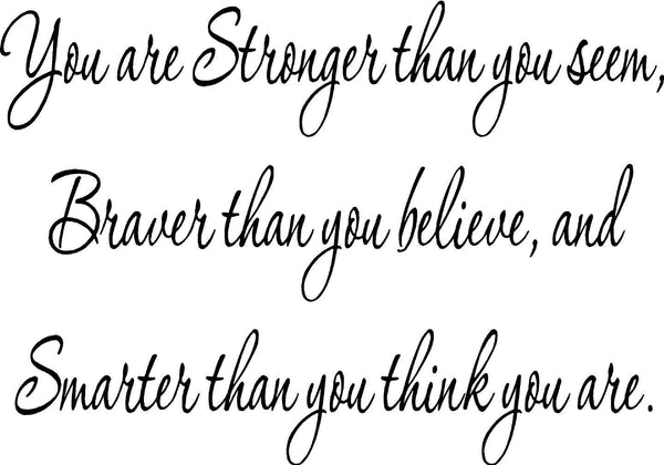 VWAQ You Are Stronger Inspirational Wall Decal Quote Vinyl Wall Art Decal - VWAQ Vinyl Wall Art Quotes and Prints no background