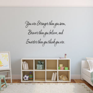 VWAQ You Are Stronger Inspirational Wall Decal Quote Vinyl Wall Art Decal
