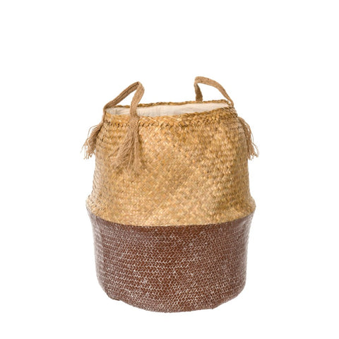 TALL Brown Wash Belly Basket