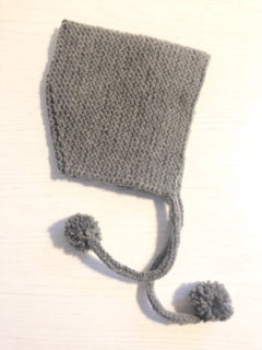 Hand Knit Pixie Baby Hat-Grey