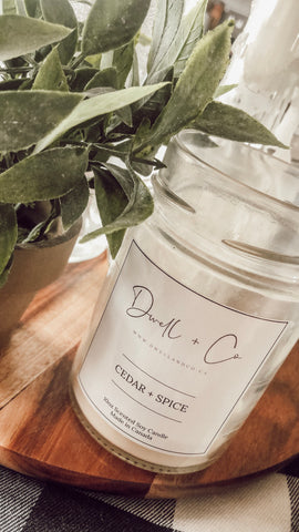 Dwell & Co. Soy Candle-Cedar + Spice