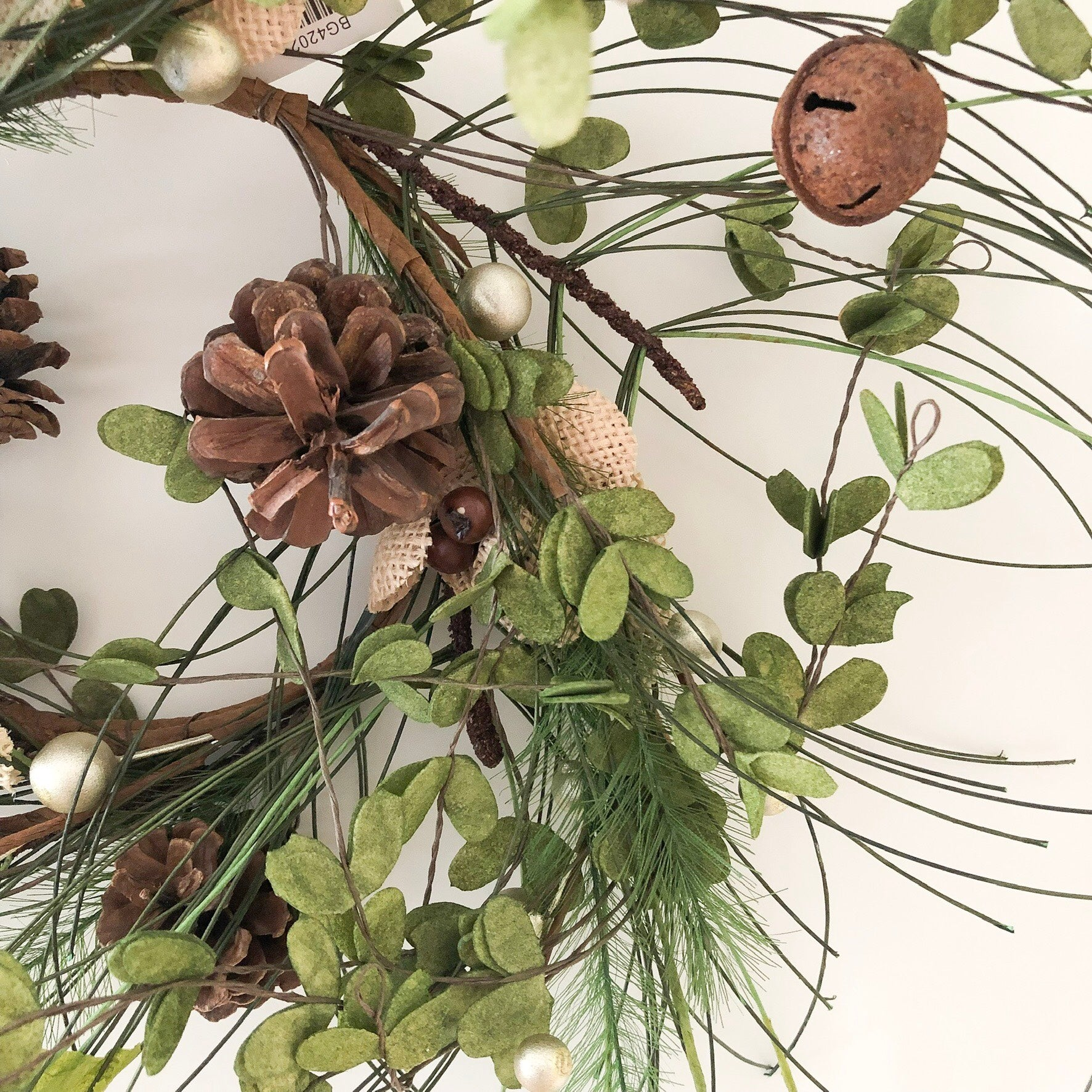 Burlap Flowers + Pine Small Wreath