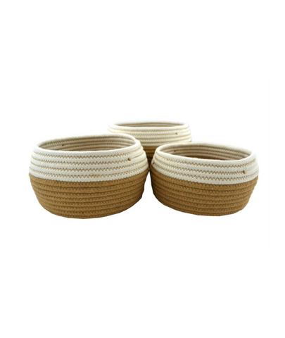 Set of 3 baskets- White + Natural