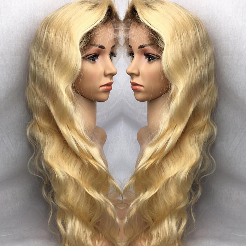 WHITE BLONDE 613 1b ROOT BODYWAVE GLUELESS FULL LACE WIG