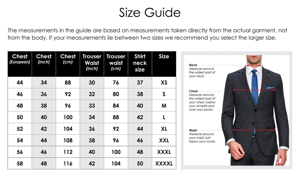 joe black menswear suits and trousers size chart