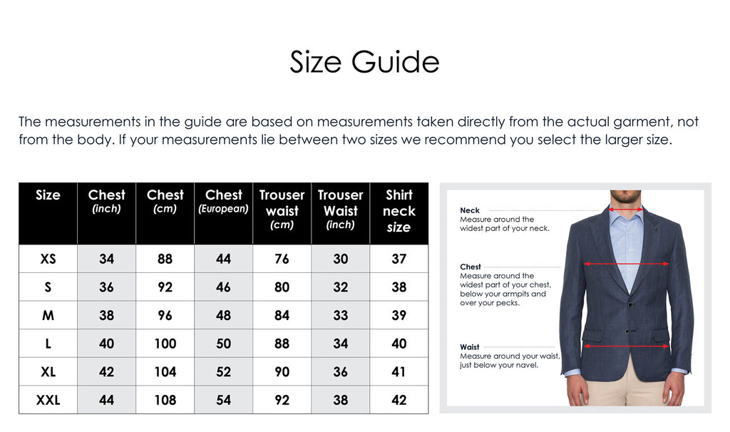 size guidelines for joe black suiting sold at mens suit warehouse melbourne