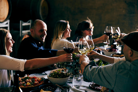 a group of people enjoying food and wine together - zonzo and msw giveaway