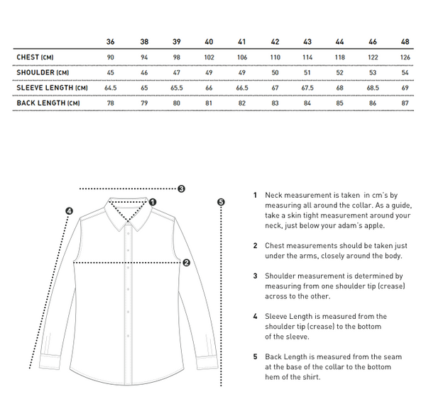 MENS SHIRT SIZE GUIDE
