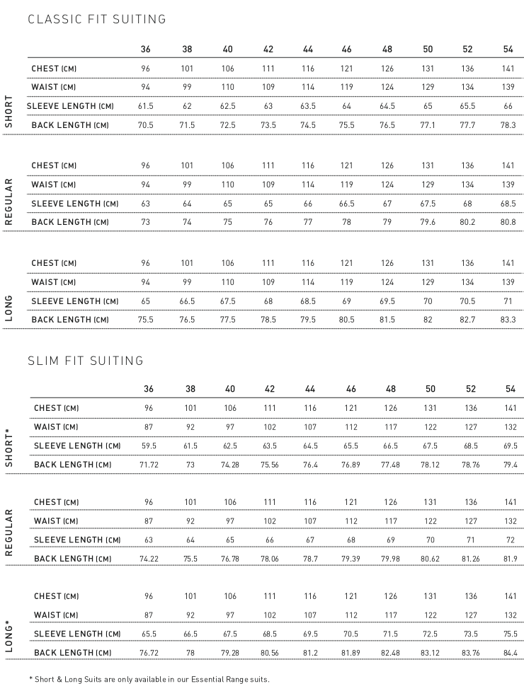 MENS SUITS SIZE GUIDE