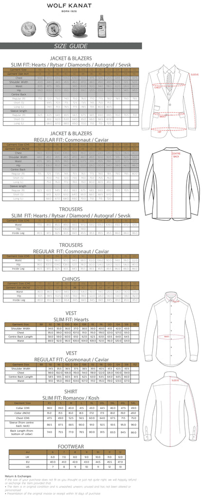 wolf kanat size guide to assist customers in making the right suit selection when buying at suit at the mens suit warehouse online suit shop.