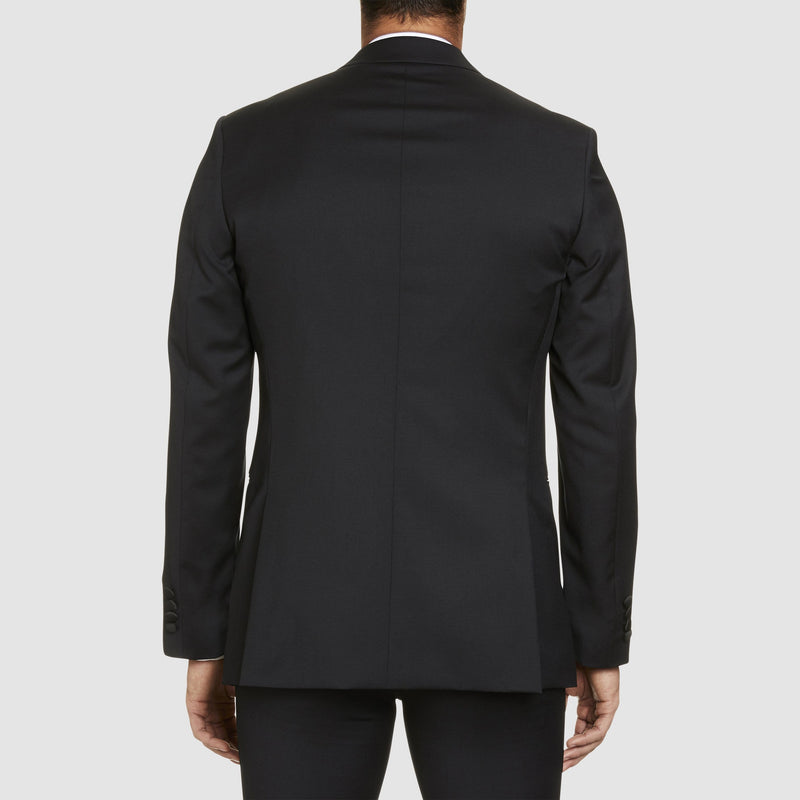 a back view of the st. regis dinner suit jacket in black pure wool showing the classic fit 3-186-31