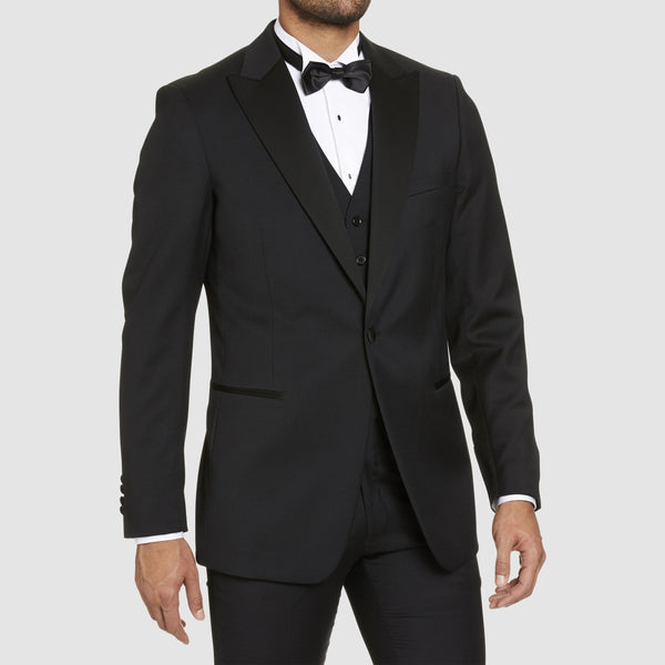 a closer view of the studio italia classic fit st. regis peak lapel tuxedo jacketin black pure wool