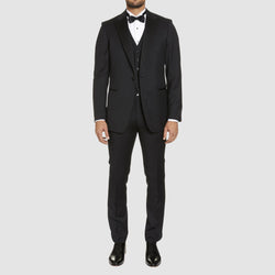 a full length view of the studio italia classic fit st. regis tuxedo in black pure wool