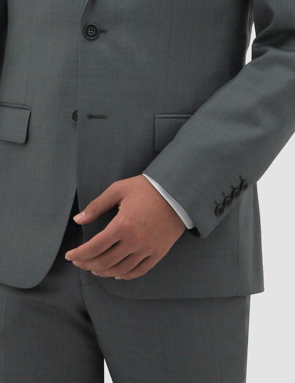 A close up view of the boston classic fit michel suit jack in grey pure wool B704-03