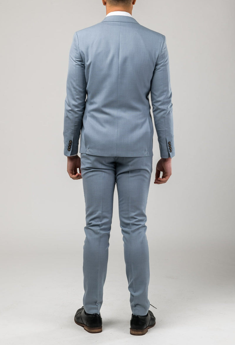 A back view of the Brighton suit in sky blue pure wool A0520191S