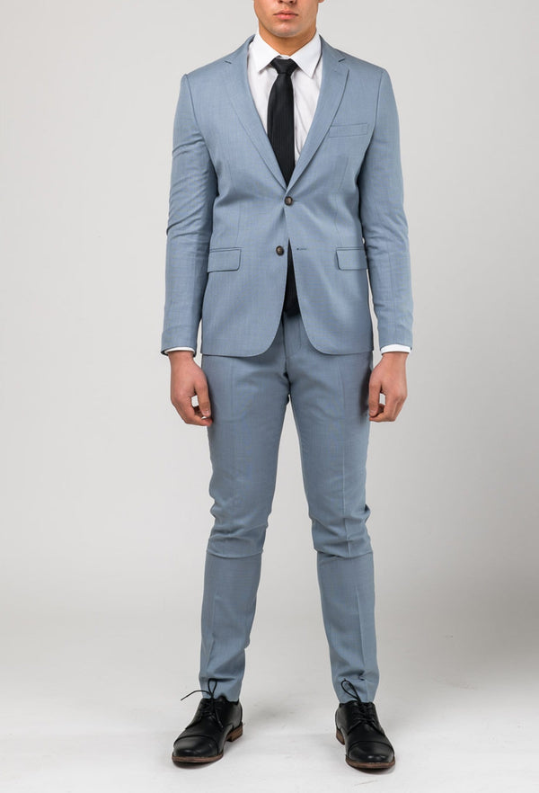 a picture of the Aston slim fit brighton suit in sky blue A0520191S front on styled with a white shirt and a black tie