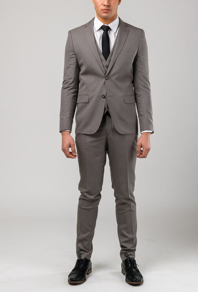 A front view of the Aston man Brighton suit in taupe poly wool blend a0320194s