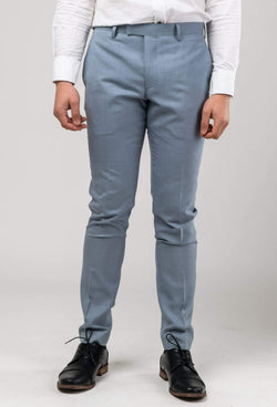 A front view picture of the Aston slim fit Brighton trouser in sky blue A0520191T styled with a white shirt