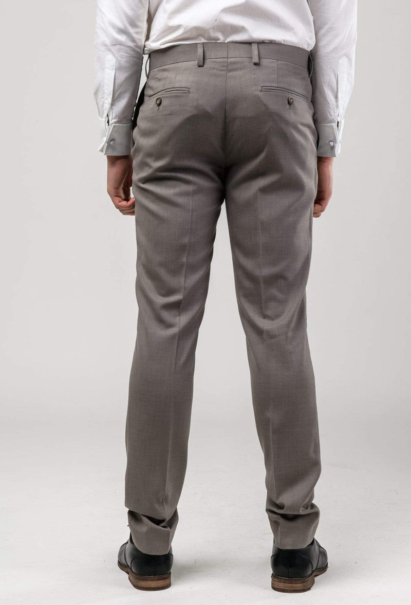 A back view of the a front view of the Aston slim fit brighton trouser in taupe A0320194T including the rear hip pocket details