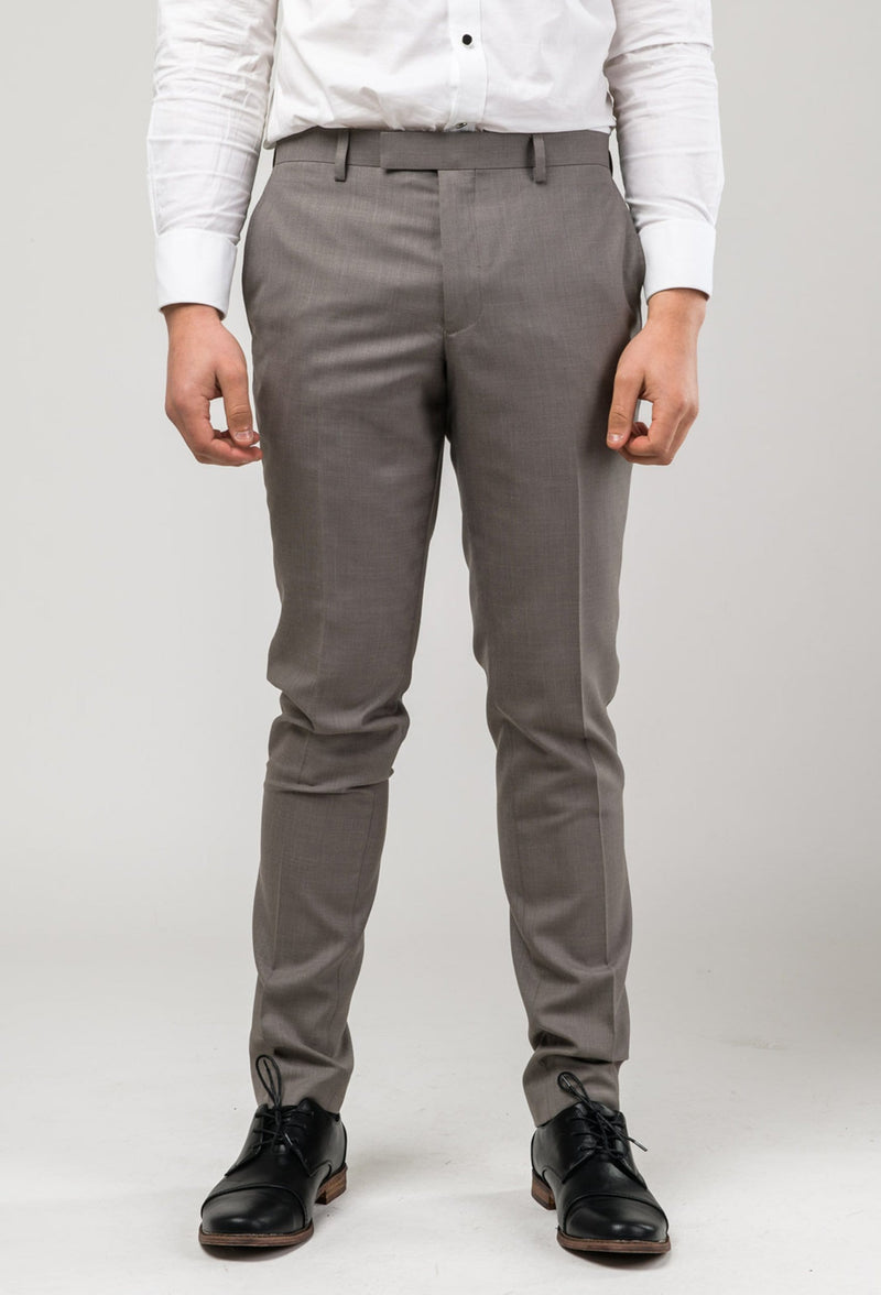 a front view of the Aston slim fit brighton trouser in taupe A0320194T