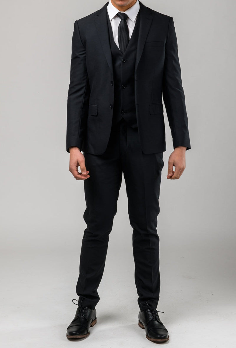 Aston slim fit colton suit in black pure wool A0137122S