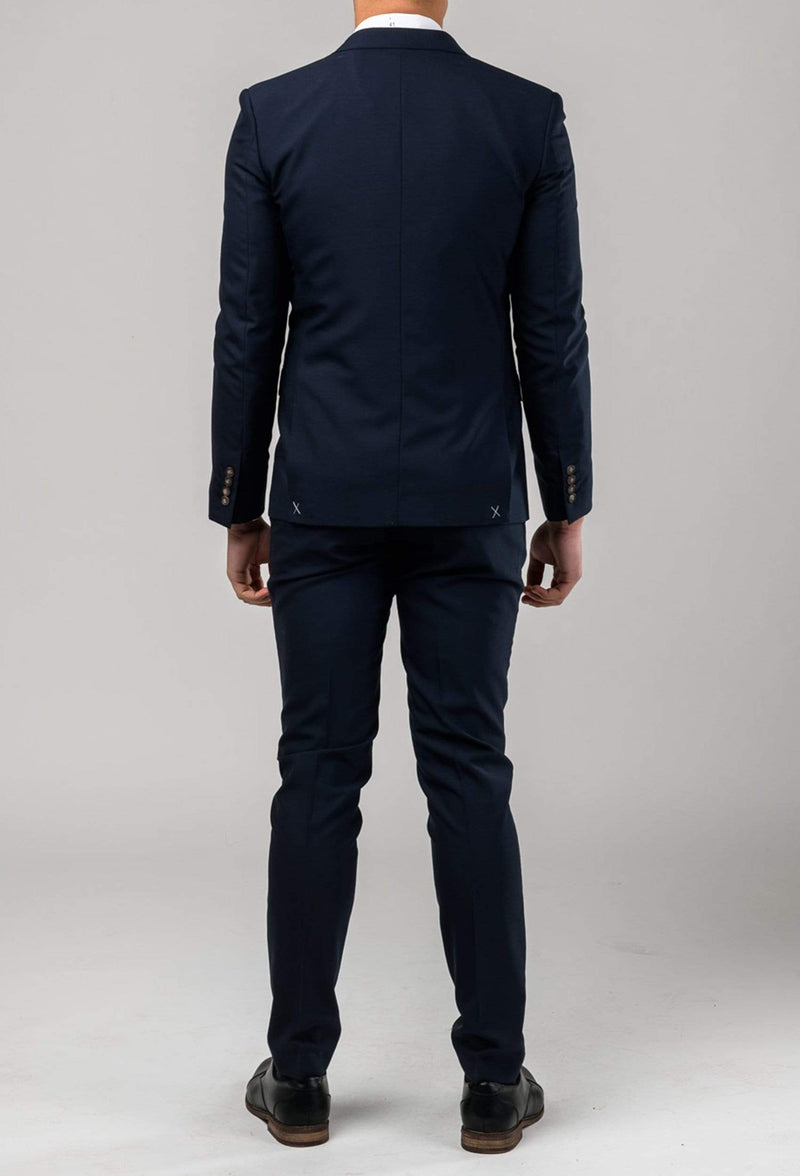 a reverse view of the Aston slim fit colton suit in navy pure wool A0437162S