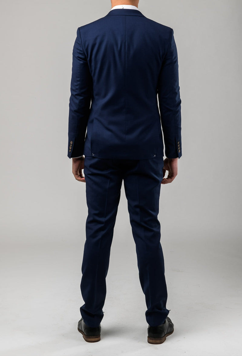 a behind view of the Aston slim fit colton suit in royal blue pure wool A0521512S