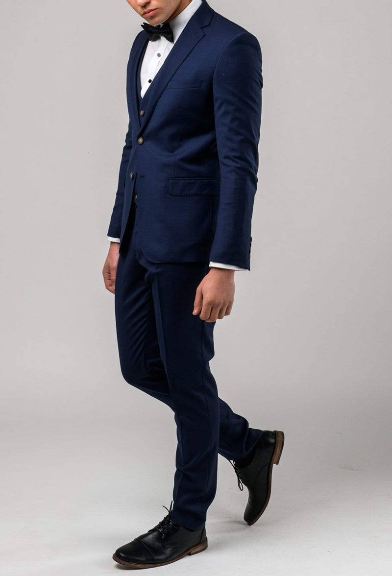 the Aston slim fit colton trouser in royal blue pure wool A0521512T styled in the Colton suit