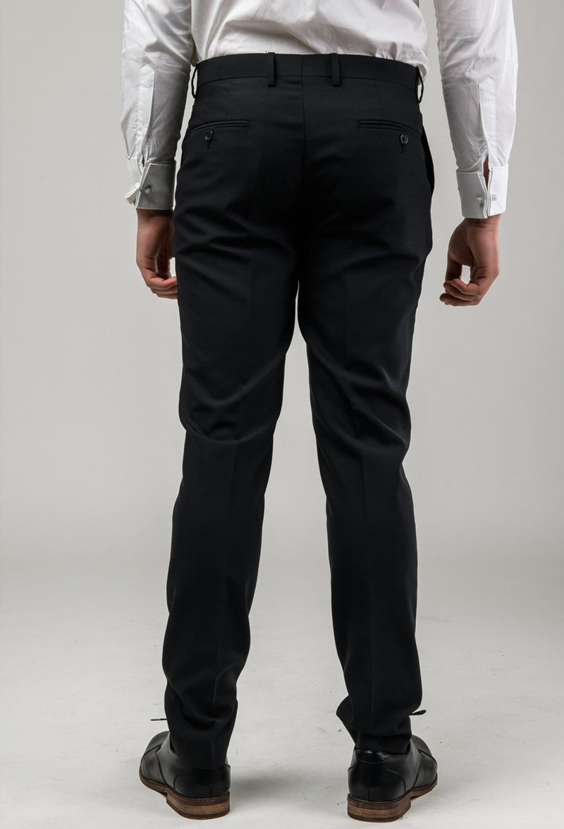 The back view of the Aston slim fit colton trouser in black pure wool A0137122T