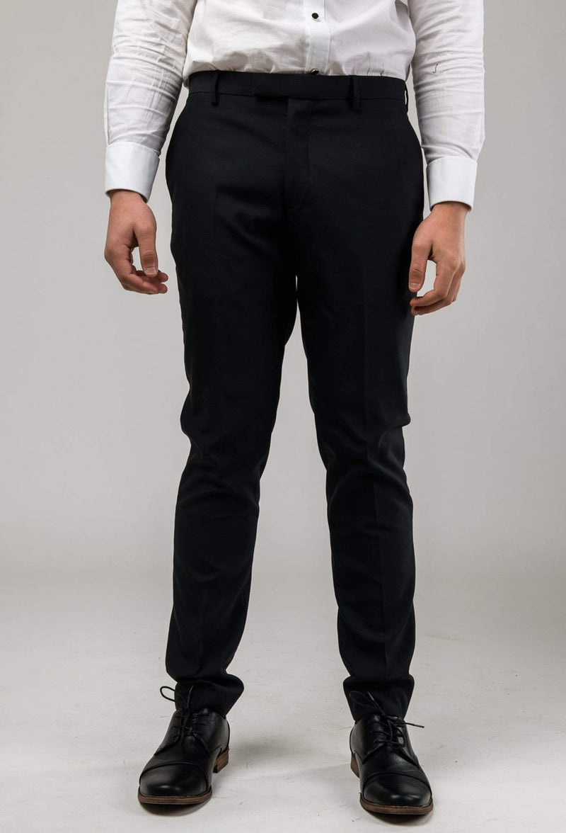 a front view of the Aston slim fit colton trouser in black pure wool A0137122T