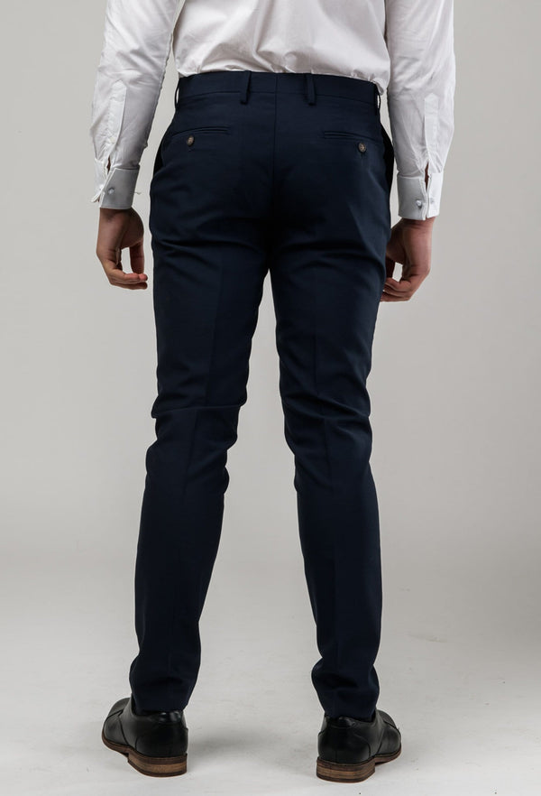 reverse view of the Aston slim fit colton trouser in navy pure wool A0437162T