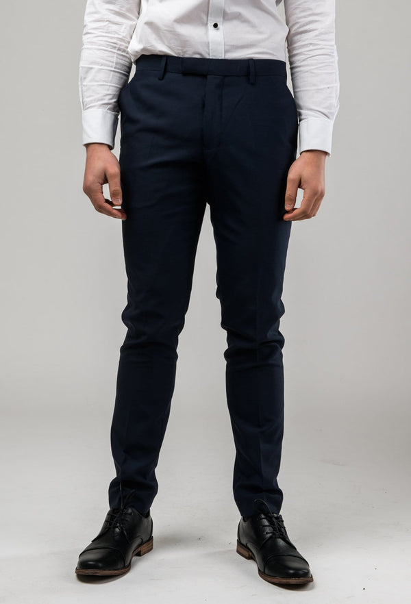 front view of the Aston slim fit colton trouser in navy pure wool A0437162T