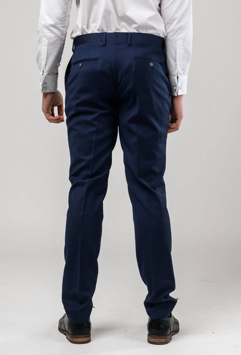 a reverse view of the Aston slim fit colton trouser in royal blue pure wool A0521512T