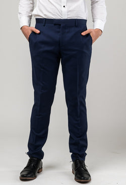 a front view of the aston slim fit colton trouser in royal blue pure wool A0521512T
