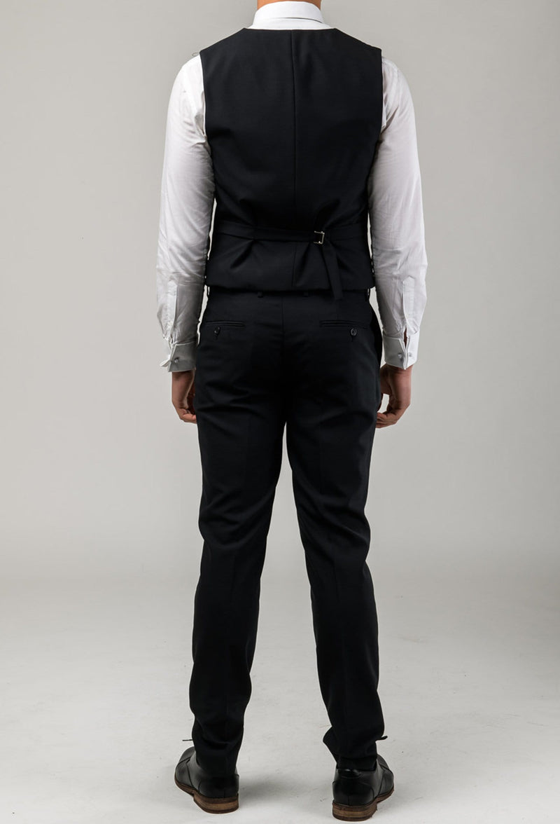 reverse view of the Aston slim fit colton vest in black pure wool A0137122V including the tab adjusters at the back