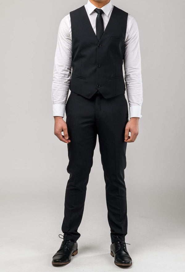 Aston slim fit colton vest in black pure wool A0137122V styled with a white shirt and black tie