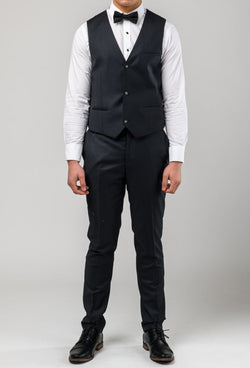full length view of the Aston slim fit colton vest in charcoal pure wool A0220172V