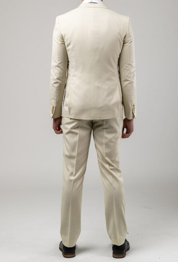 a reverse view of the Aston slim fit lackhart suit in beige A099301S