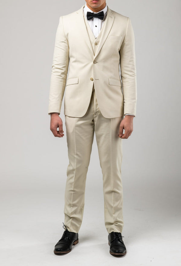 a front full length view of the Aston slim fit lackhart suit in beige A099301S
