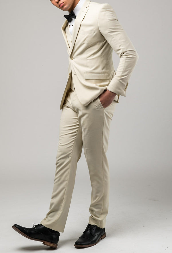 a side view of the Aston slim fit lackhart trouser in beige A099301T styled with the Lockhart suit jacket