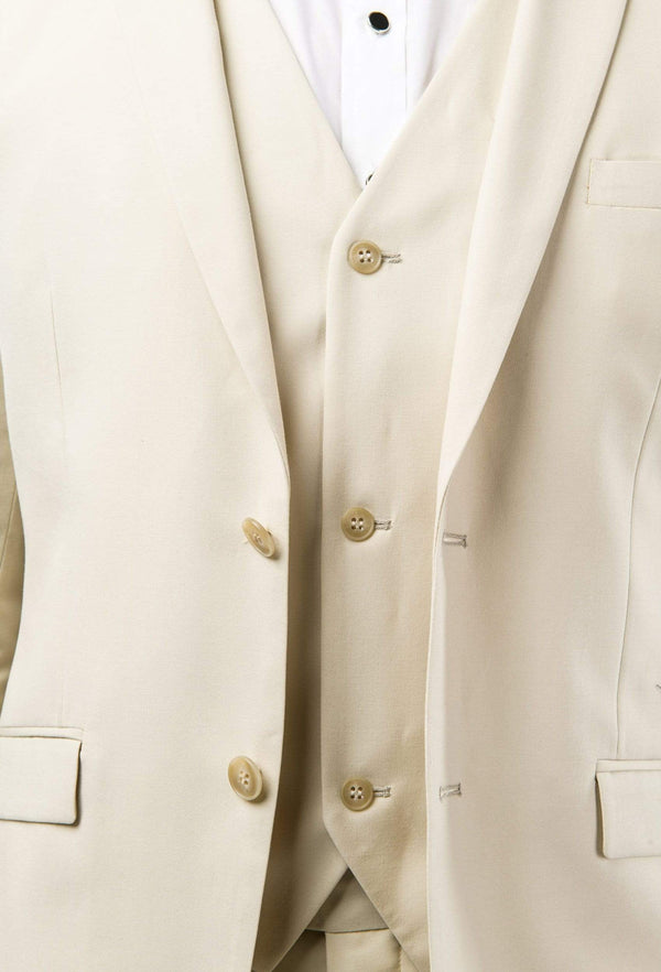 A close up view of the Aston slim fit lackhart vest in beige A099301V styled under the Lockhart suit jacket