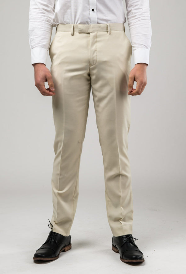 a front view of the Aston slim fit lackhart trouser in beige A099301T