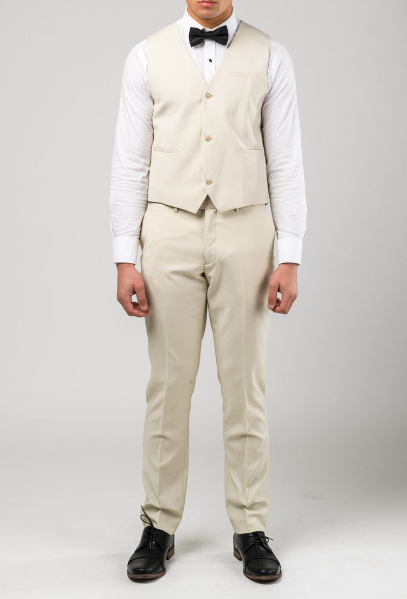 a front on view of the Aston slim fit lackhart vest in beige A099301V