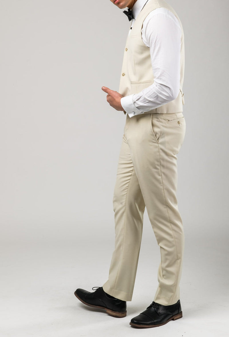 a side view of the aston slim fit lackhart vest in beige A099301V styled with the lackhart trouser