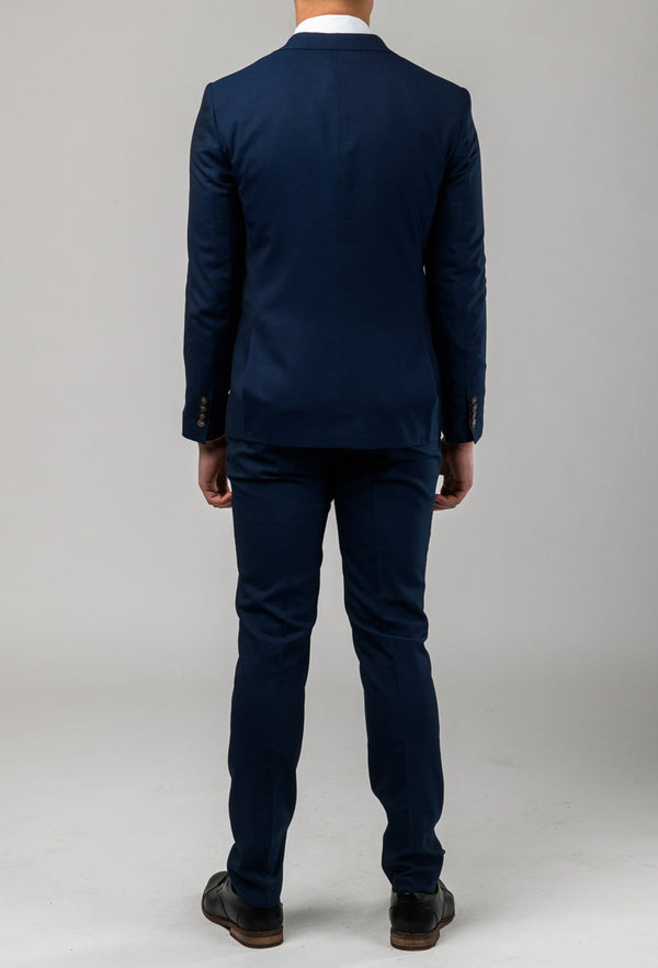 A back view of the Aston slim fit leon suit and trouser in navy A042621S