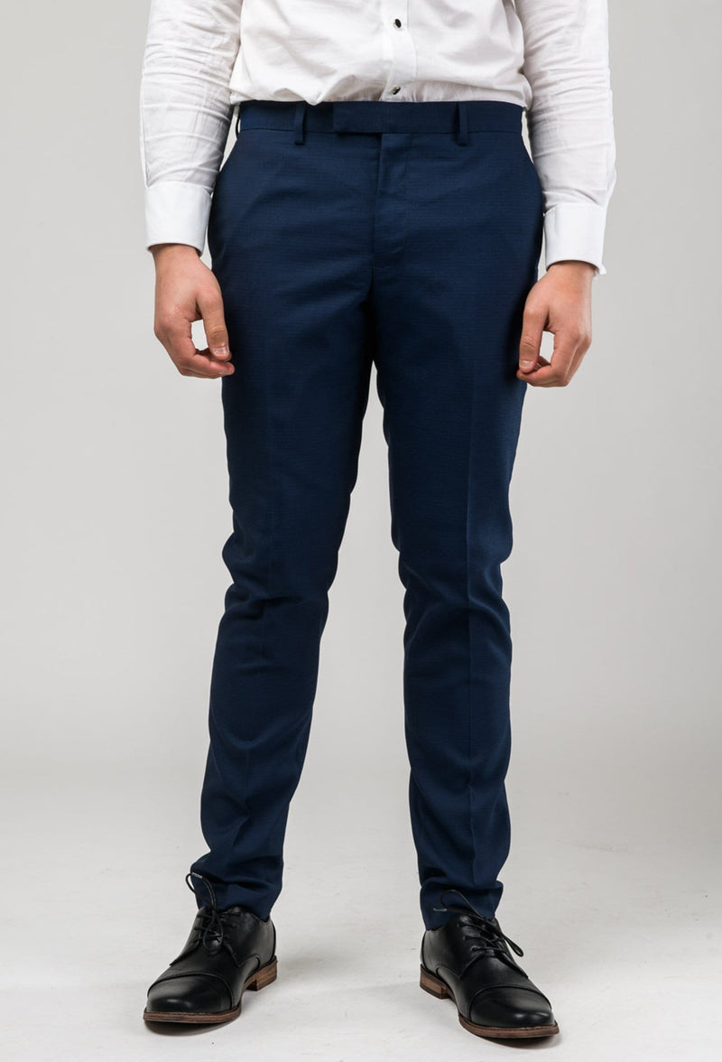 a close up of the Aston slim fit leon suit trouser in navy A042621S