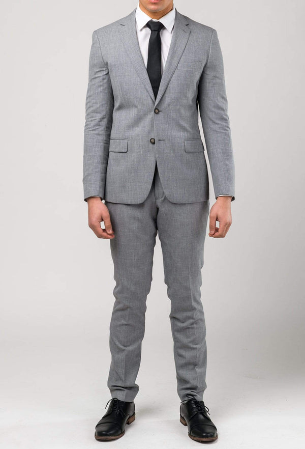 a model forward facing wearing the Aston slim fit lowell suit in grey wool linen blend A036018S
