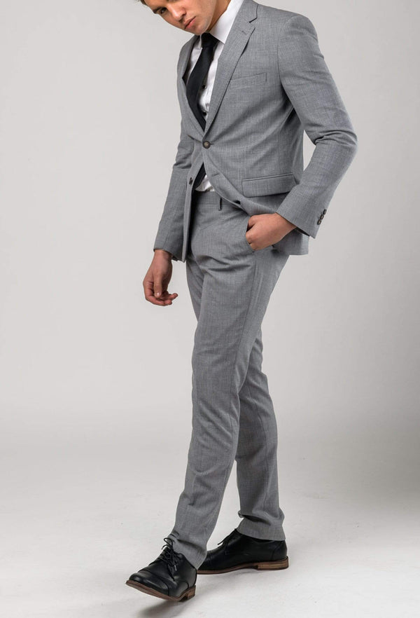 a side on view of the Aston slim fit lowell suit in grey wool linen blend A036018S