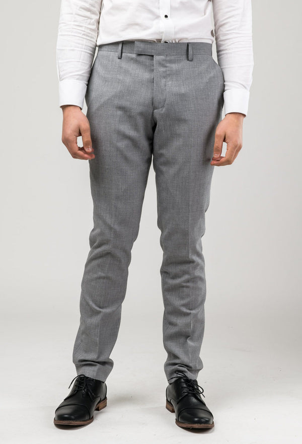 Aston slim fit lowell trouser in grey wool linen blend A036018T