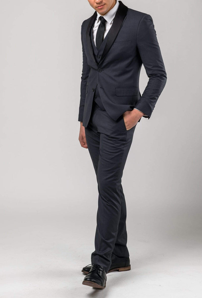 the Aston slim fit colton trouser in charcoal pure wool A0220172T styled as the Colton suit